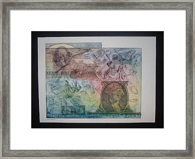 Aig The Dollar And George Compared Framed Print by John  Schwind