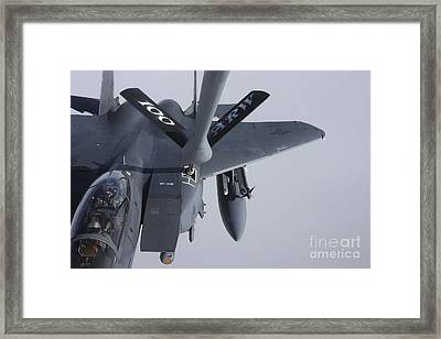 Air Refueling A F-15e Strike Eagle Framed Print by Daniel Karlsson