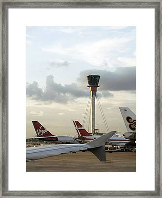 Air Traffic Control Tower, Uk Framed Print by Carlos Dominguez