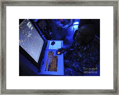 Air-traffic Controller Tracks Incoming Framed Print by Stocktrek Images