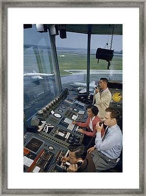 Air Traffic Controllers Direct Traffic Framed Print by David Boyer