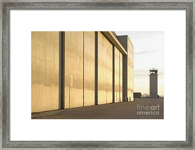 Aircraft Hangers At An Airport Framed Print by Dave & Les Jacobs