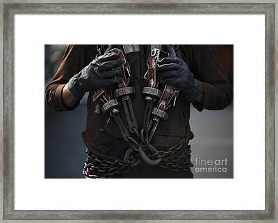 Airman Carries Aircraft Tie-down Chains Framed Print by Stocktrek Images