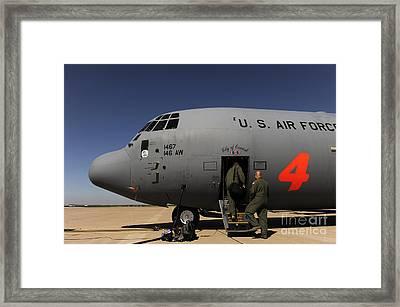 Airmen Board A C-130j Hercules At Dyess Framed Print by Stocktrek Images