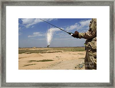 Airmen Conduct A Controlled Detonation Framed Print by Stocktrek Images