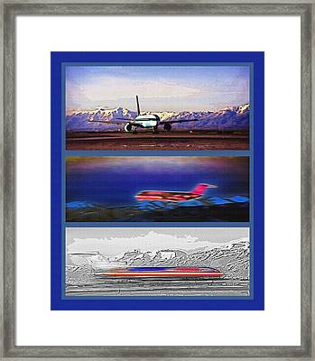 Airport - Airline Triptych Framed Print by Steve Ohlsen