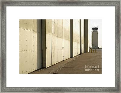 Airport Hanger At An Airport Framed Print by Dave & Les Jacobs