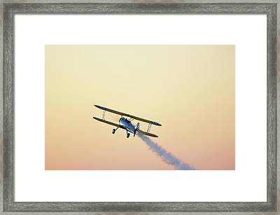 Airshow Smoke Trail At Sunset Framed Print by Jim McKinley