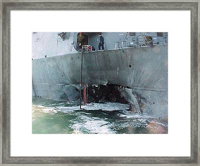Al Qaeda Suicide Bombers Rammed The Uss Framed Print by Everett