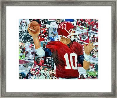 Alabama Quarter Back Passing Framed Print by Michael Lee
