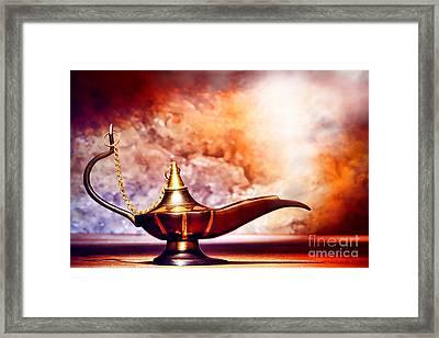 Aladdin Lamp Framed Print by Olivier Le Queinec