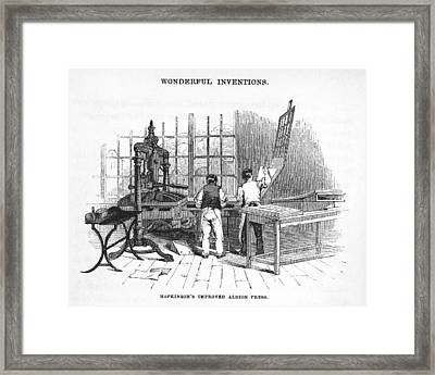 Albion Printing Press Framed Print by Science, Industry & Business Librarynew York Public Library