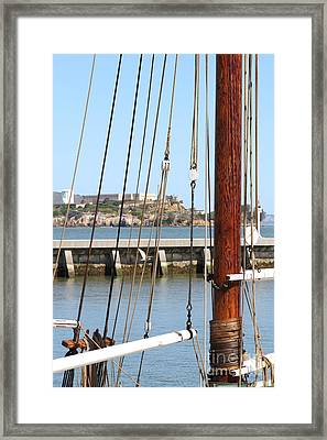 Alcatraz Island Through The Hyde Street Pier In San Francisco California . 7d14148 Framed Print by Wingsdomain Art and Photography