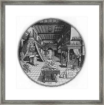 Alchemists Laboratory, 1595 Framed Print by Science Source