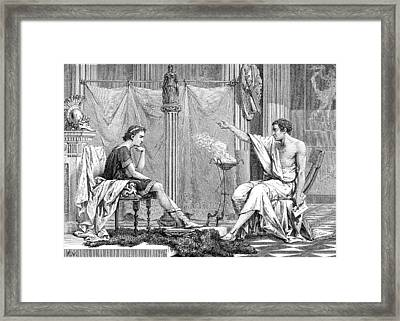 Alexander Of Macedon And Aristotle Framed Print by