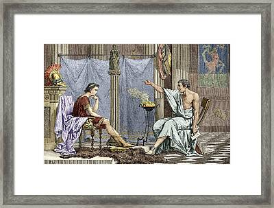 Alexander Of Macedon And Aristotle Framed Print by Sheila Terry