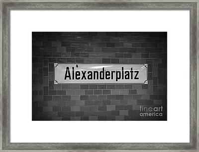 Alexanderplatz Berlin U-bahn Underground Railway Station Name Plates Germany Framed Print by Joe Fox
