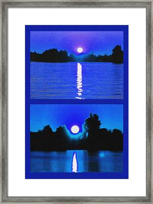 Alexandria Bay Moonrise Diptych Framed Print by Steve Ohlsen