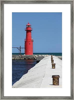 Algoma Lighthouse Pier Framed Print by Mark J Seefeldt