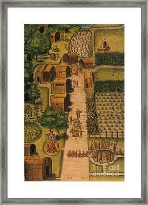 Algonquian Village 1585 Framed Print by Photo Researchers