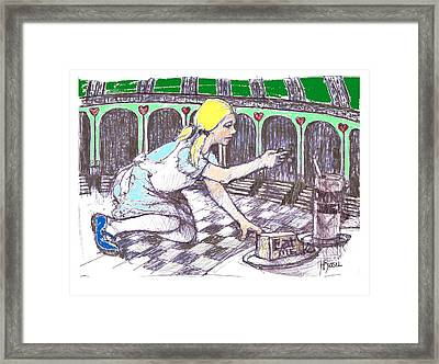 Alice Finds The Key Framed Print by Herb Russel