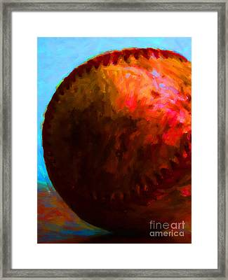 All American Pastime - Baseball Version 3 - Painterly Framed Print by Wingsdomain Art and Photography