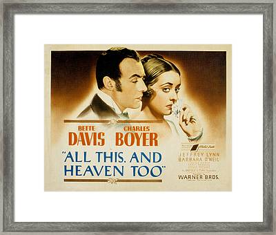 All This And Heaven Too, Charles Boyer Framed Print by Everett