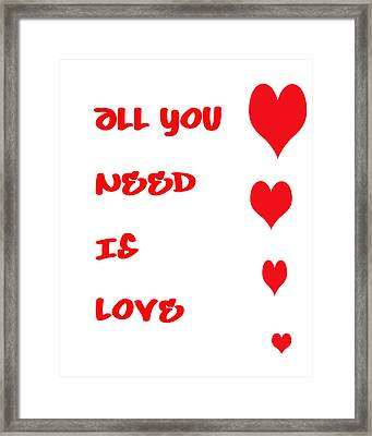 All You Need Is Love Framed Print by Georgia Fowler