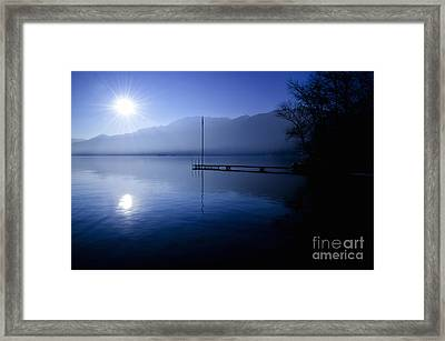 Alpine Lake In Backlit Framed Print by Mats Silvan