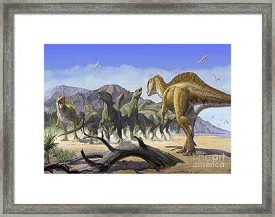 Altispinax Dunkeri Dinosaurs Attack Framed Print by Sergey Krasovskiy
