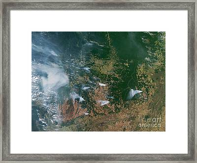 Amazon Basin Forest Fires, Satellite Framed Print by NASA / Science Source