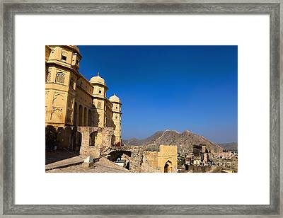 Amber Fort And Blue Sky Framed Print by Inti St. Clair