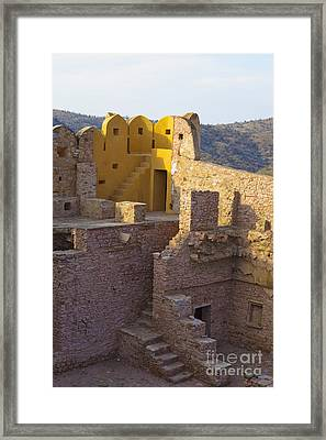Amber Fort Stone Wall Framed Print by Inti St. Clair