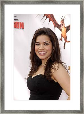 America Ferrera At Arrivals For How To Framed Print by Everett