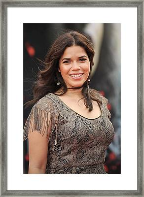 America Ferrera Wearing A James Framed Print by Everett