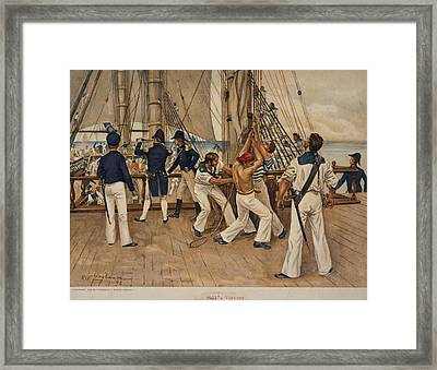 American Sailors And Officers On Deck Framed Print by Everett