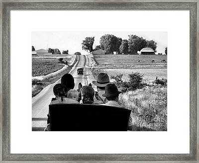 Amish Family Outing Framed Print by Julie Dant