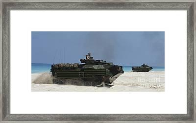 Amphibious Assault Vehicles Raid Framed Print by Stocktrek Images