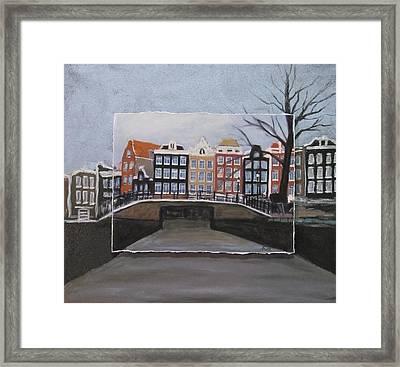 Amsterdam Bridge Layered Framed Print by Anita Burgermeister