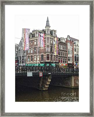 Amsterdam Canal Bridge - 04 Framed Print by Gregory Dyer
