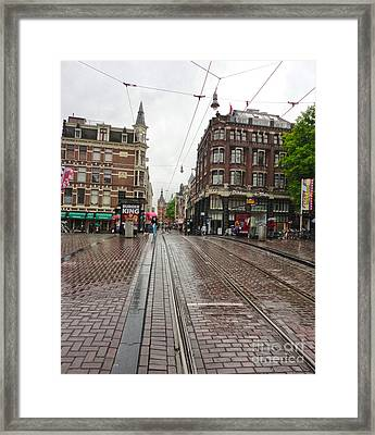 Amsterdam Rainy Day Framed Print by Gregory Dyer