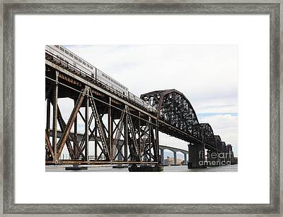 Amtrak Train Riding Atop The Benicia-martinez Train Bridge In California - 5d18728 Framed Print by Wingsdomain Art and Photography