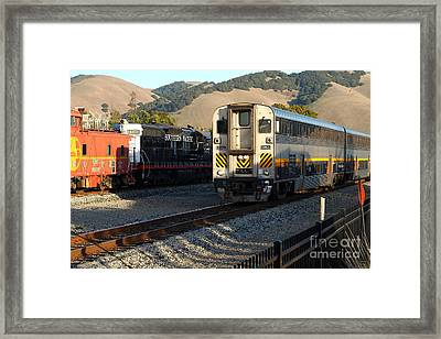Amtrak Trains At The Niles Canyon Railway In Historic Niles District California . 7d10854 Framed Print by Wingsdomain Art and Photography