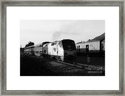 Amtrak Trains At The Niles Canyon Railway In Historic Niles District California . 7d10857 . Bw Framed Print by Wingsdomain Art and Photography
