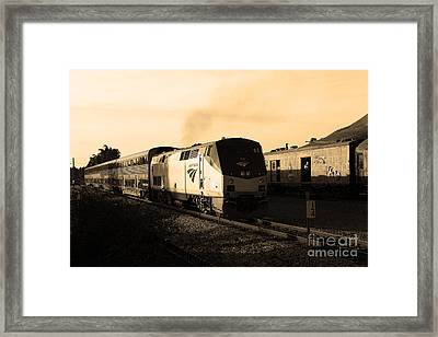 Amtrak Trains At The Niles Canyon Railway In Historic Niles District California . 7d10857 . Sepia Framed Print by Wingsdomain Art and Photography