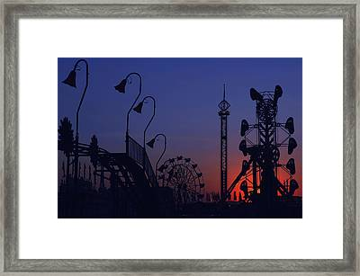 Amusement Ride Silhouette Framed Print by Michael Gass