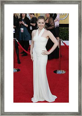 Amy Adams Wearing A Herve Leroux Gown Framed Print by Everett