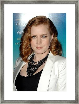 Amy Adams Wearing A Tom Binns Necklace Framed Print by Everett