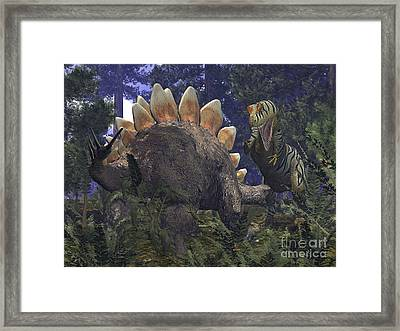 An Allosaurus Stumbles Upon A Grazing Framed Print by Walter Myers