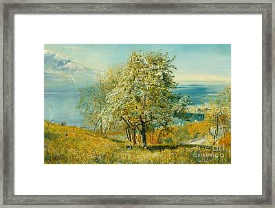 An Alpine Lake Framed Print by John William Inchbold